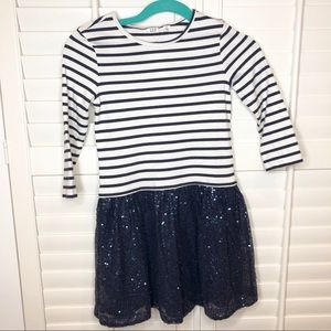 NWT! Navy and white stripe sequin dress- Size M/8